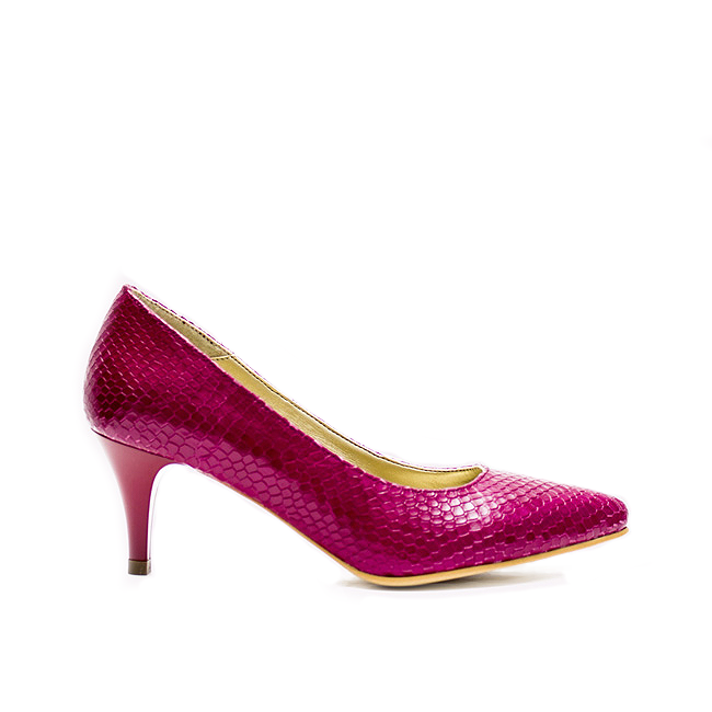 Pantofi dama stiletto cu toc mic fucsia