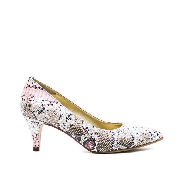 Pantofi dama stiletto cu toc mic multicolor