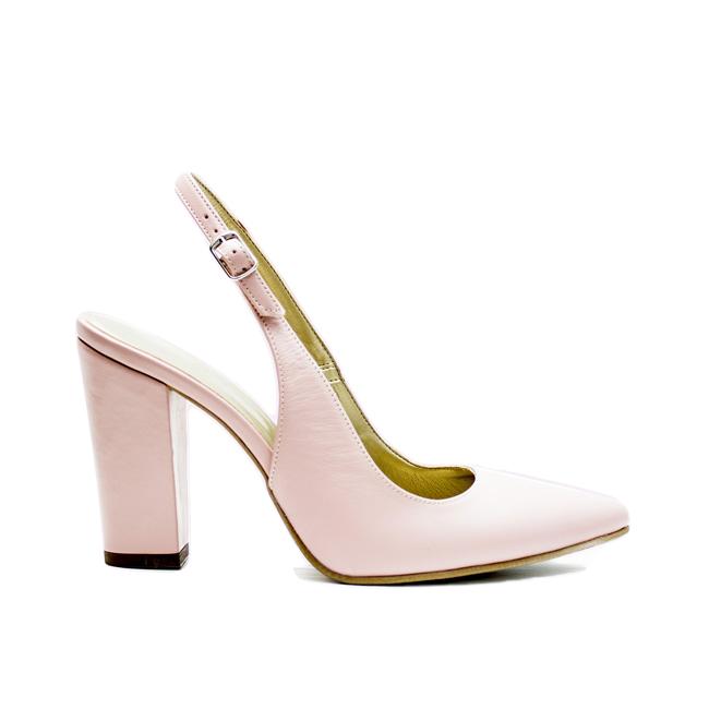 Sandale dama cu toc din piele naturala roz