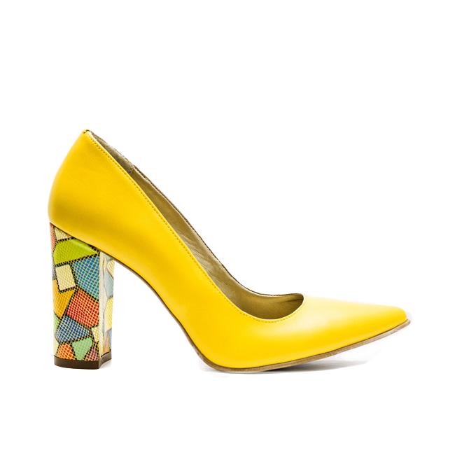 Pantofi dama stiletto toc gros galbeni