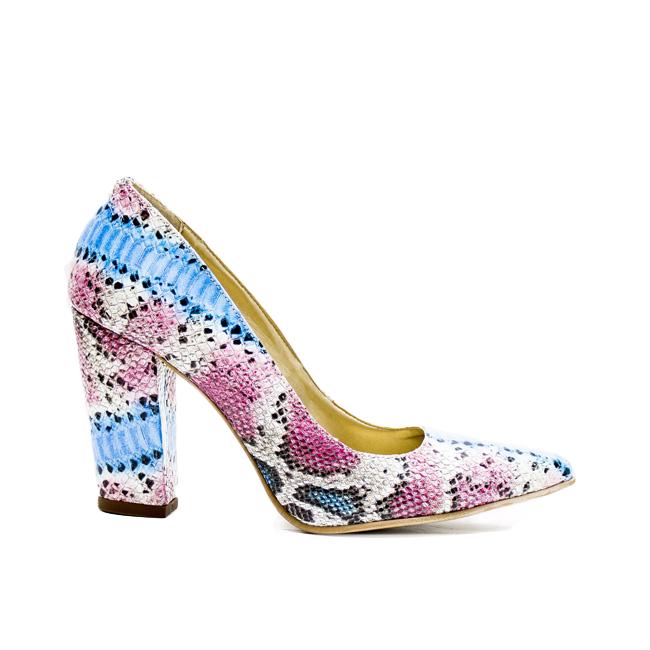 Pantofi dama toc gros multicolor