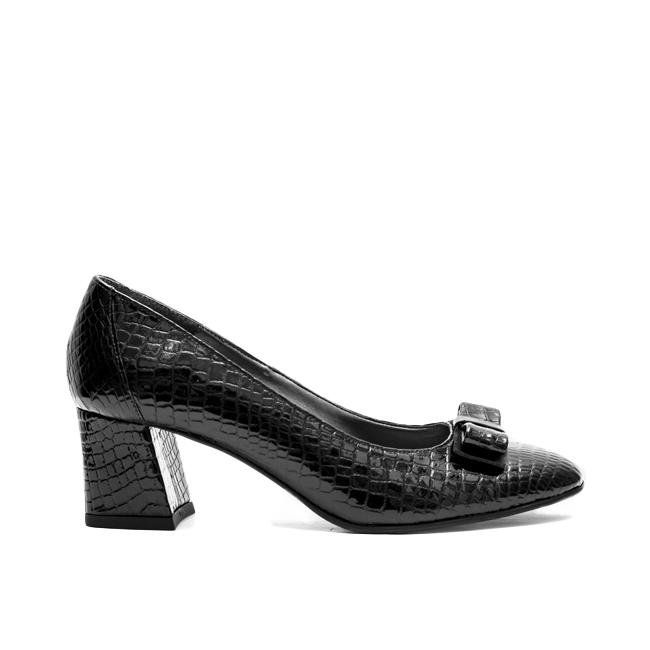 Pantofi dama cu toc gros din piele negri