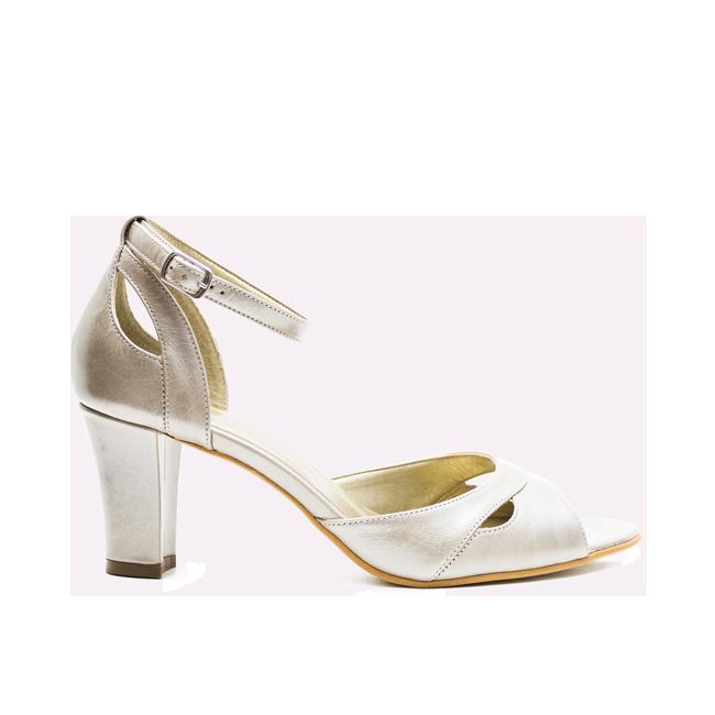 Sandale dama cu toc din piele argintii