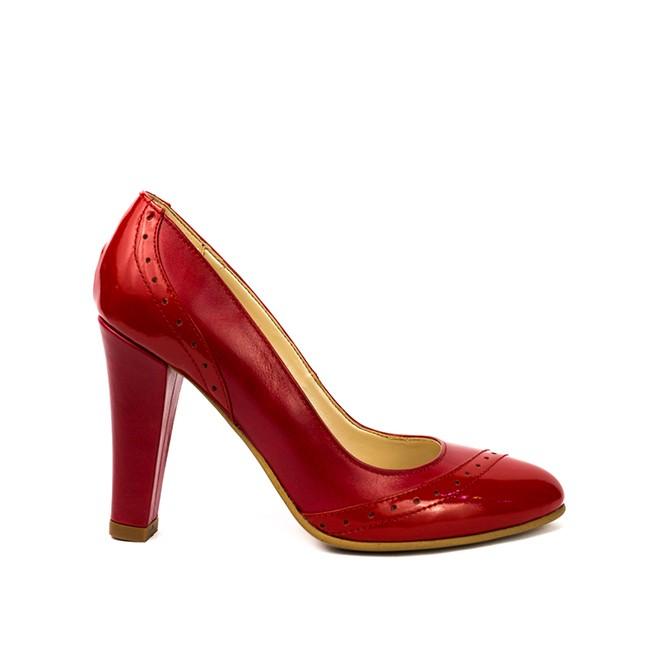 Pantofi dama piele rosii cu toc