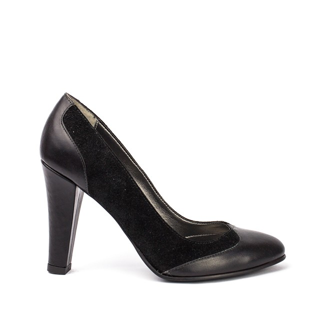 Pantofi dama piele negri cu toc