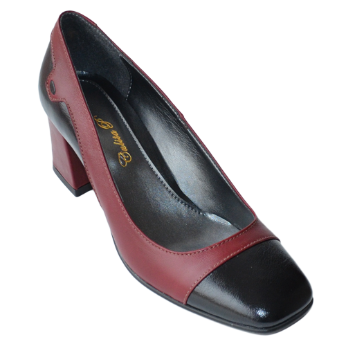 Pantofi  cu toc patrat negru & bordo