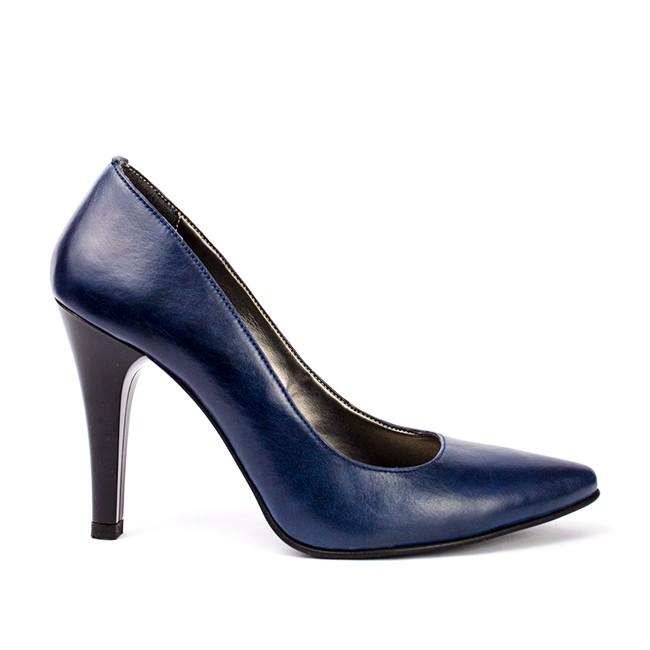 Pantofi dama stiletto piele albastra