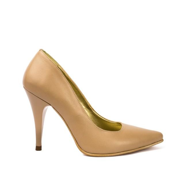Pantofi dama stiletto piele naturala bej