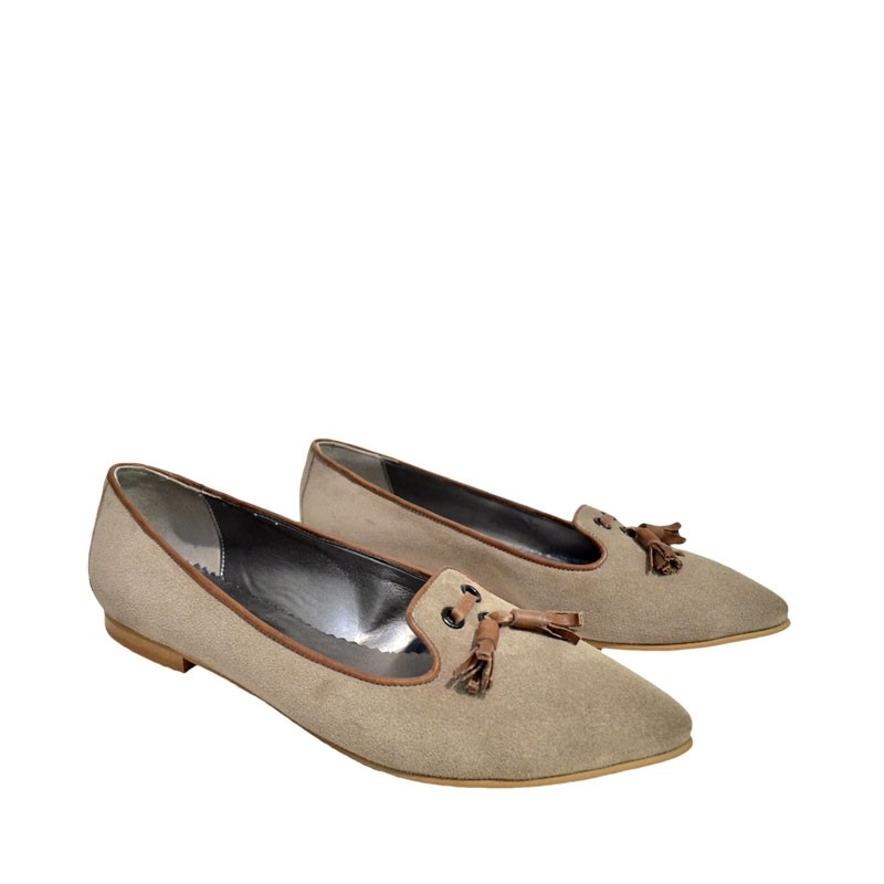 Pantofi dama ascutiti piele intoarsa gri