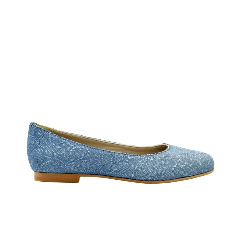 Balerini dama bleu piele naturala in flori