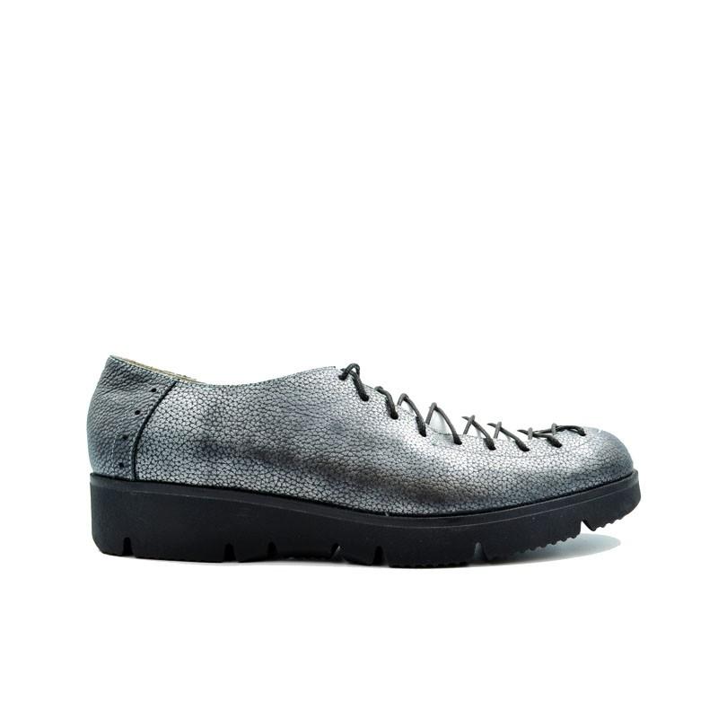 Pantofi dama cu siret piele naturala argintiu