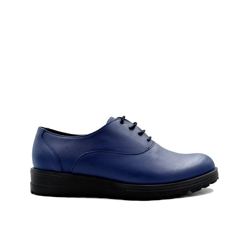 Pantofi dama bleumarin cu siret din piele naturala