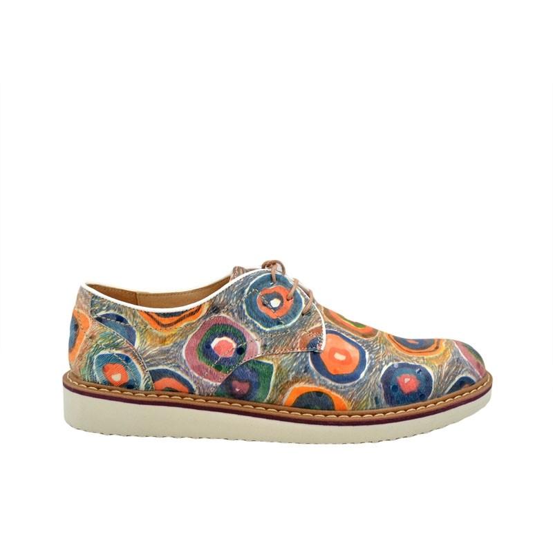 Pantofi dama paun multicolor cu siret din piele naturala