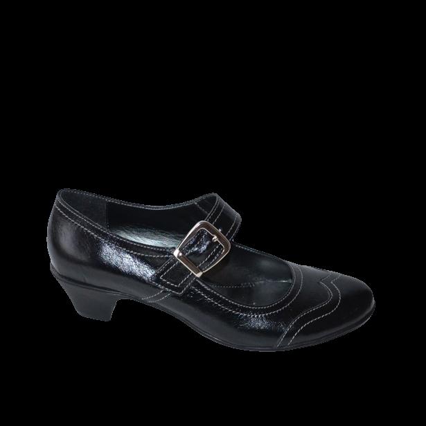 Pantofi  cu toc si catarama negri