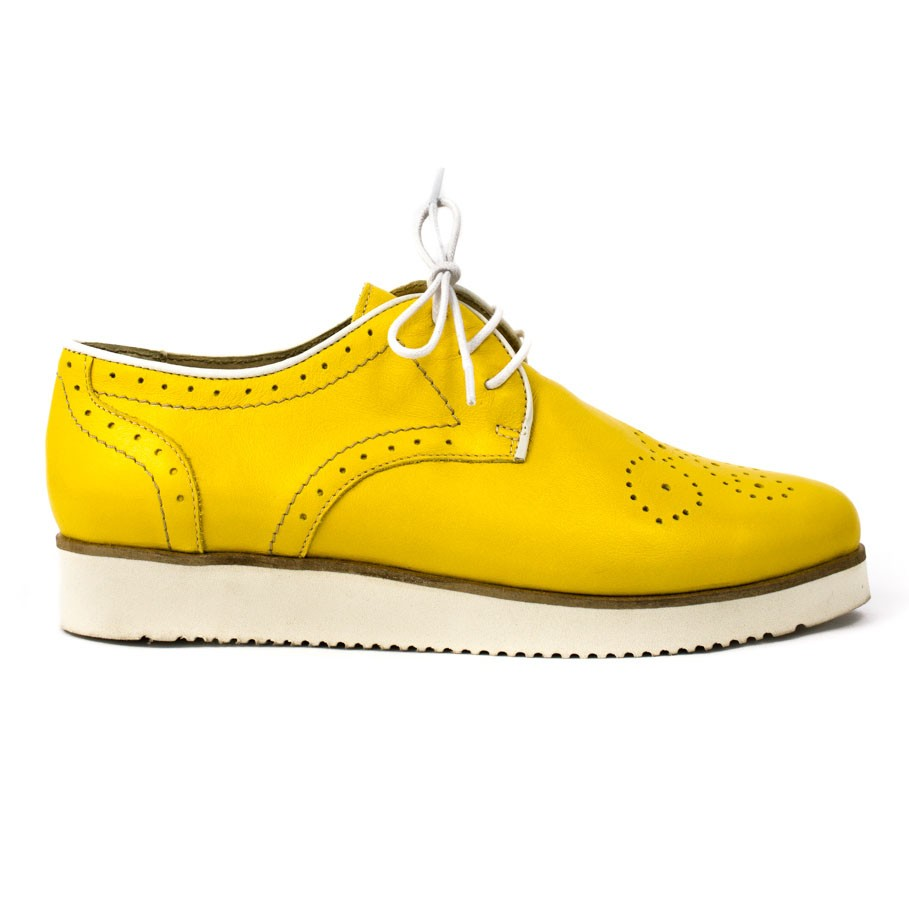 Pantofi dama oxford piele naturala galbena