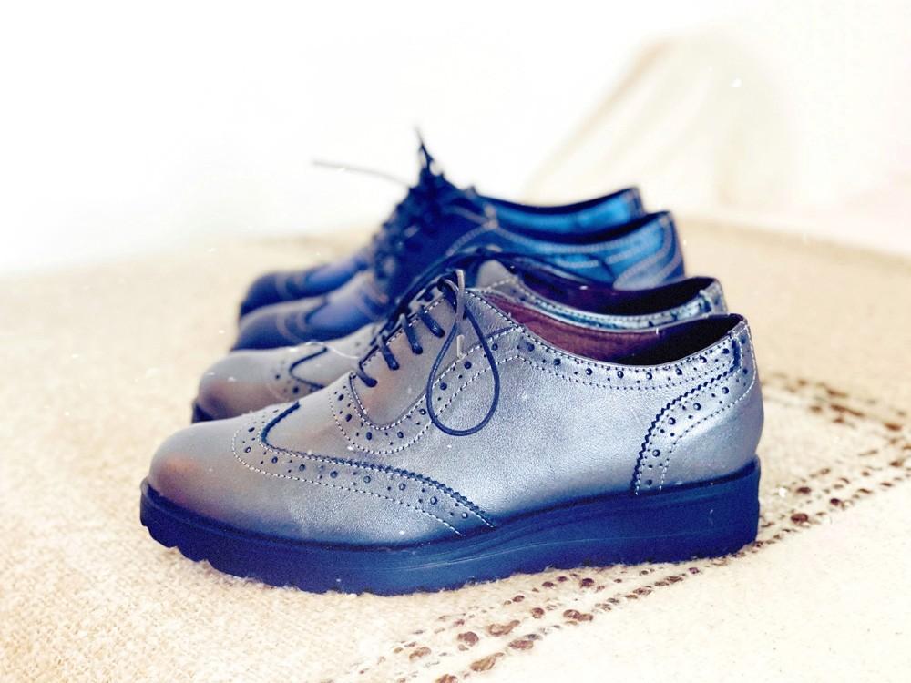 Pantofi dama oxford din piele naturala argintiu