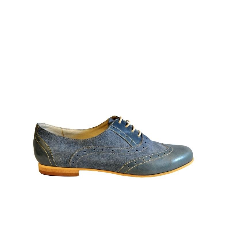 Pantofi dama bleu din piele naturala