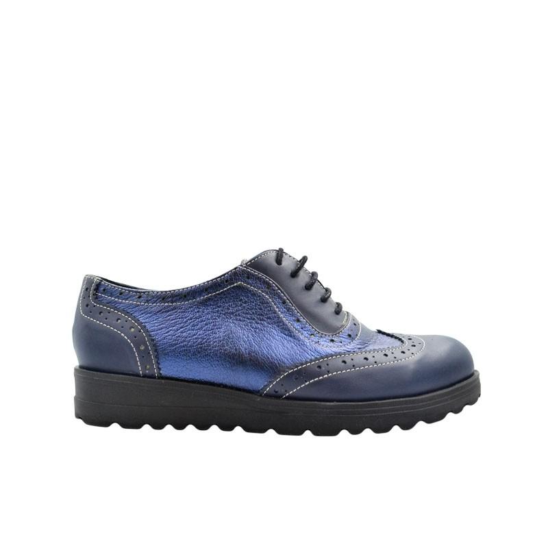 Pantofi dama oxford din piele naturala bleumarin