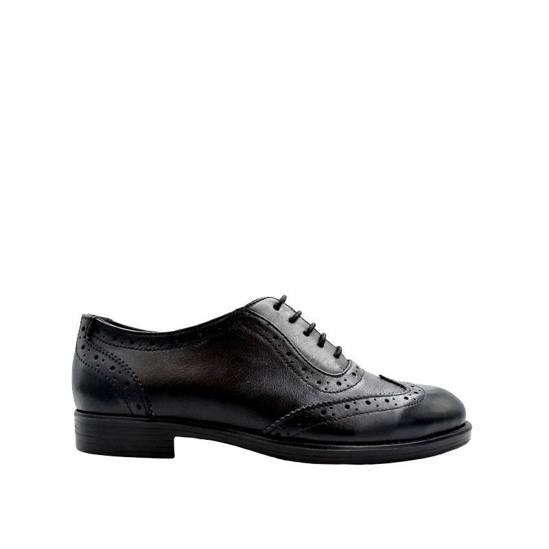 Pantofi dama oxford negri din piele naturala