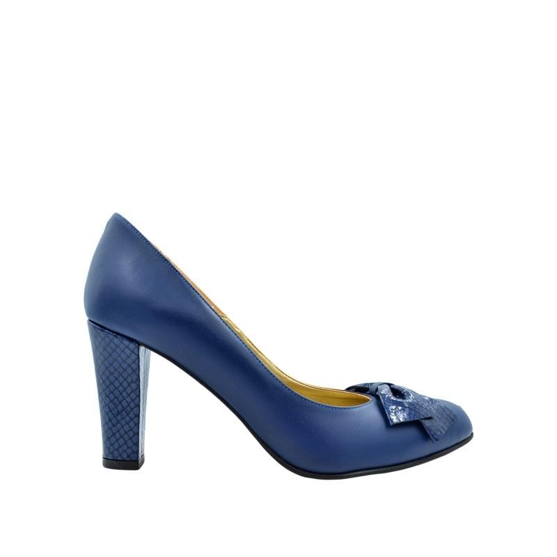 Pantofi dama cu toc si funda bleumarin