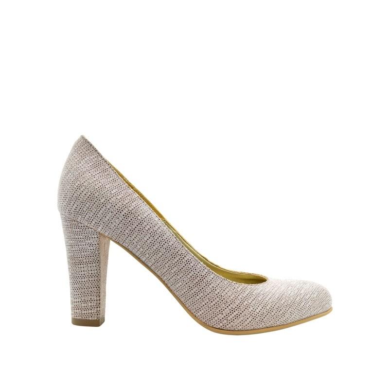 Pantofi de dama nude pipit cu toc