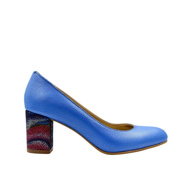 Pantofi de dama bleu cu toc multicolor