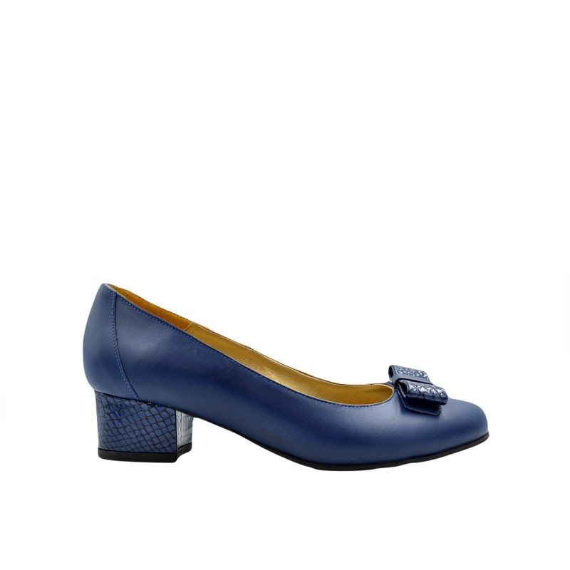Pantofi dama cu toc gros mic bleumarin
