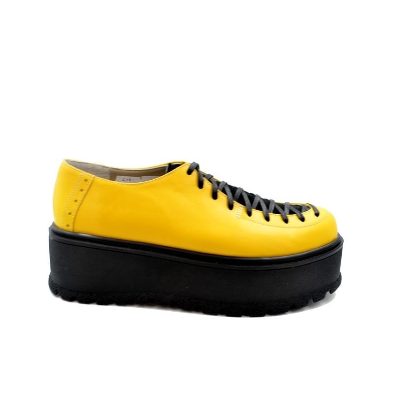 Pantofi dama galbeni cu siret din piele naturala