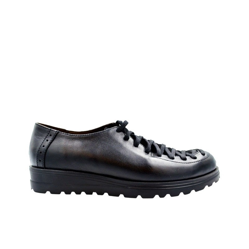 Pantofi dama cu siret piele naturala negru