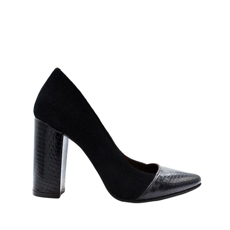 Pantofi dama stiletto toc gros din piele naturala