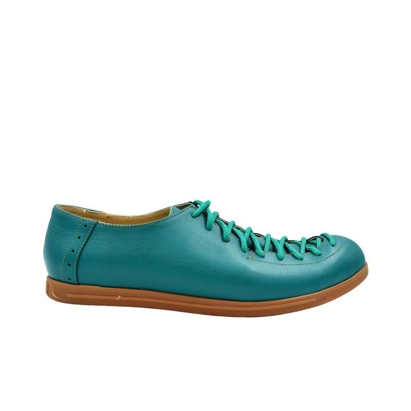 Pantofi dama cu siret piele naturala verde