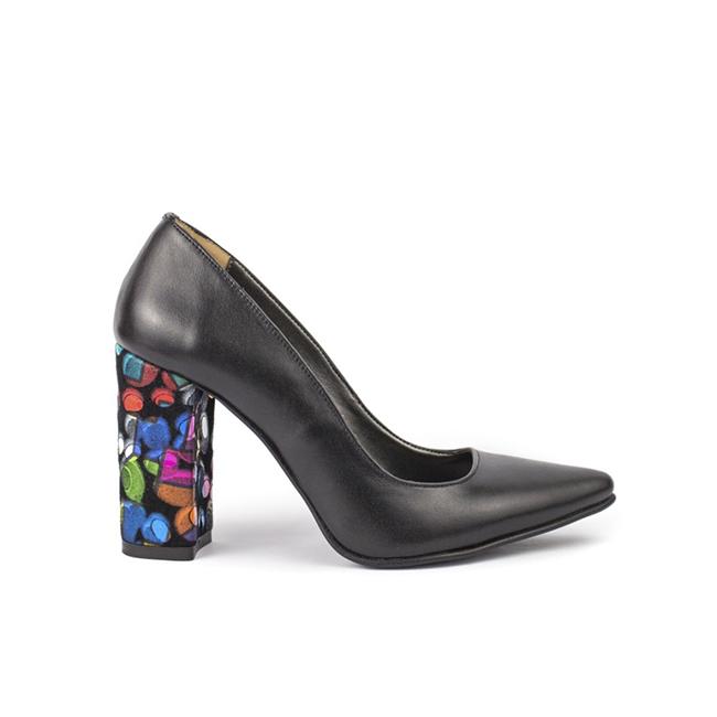 Pantofi dama stiletto piele toc gros multicolor