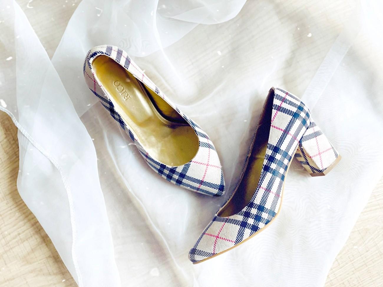 Pantofi dama pumps bej cu toc gros din piele naturala