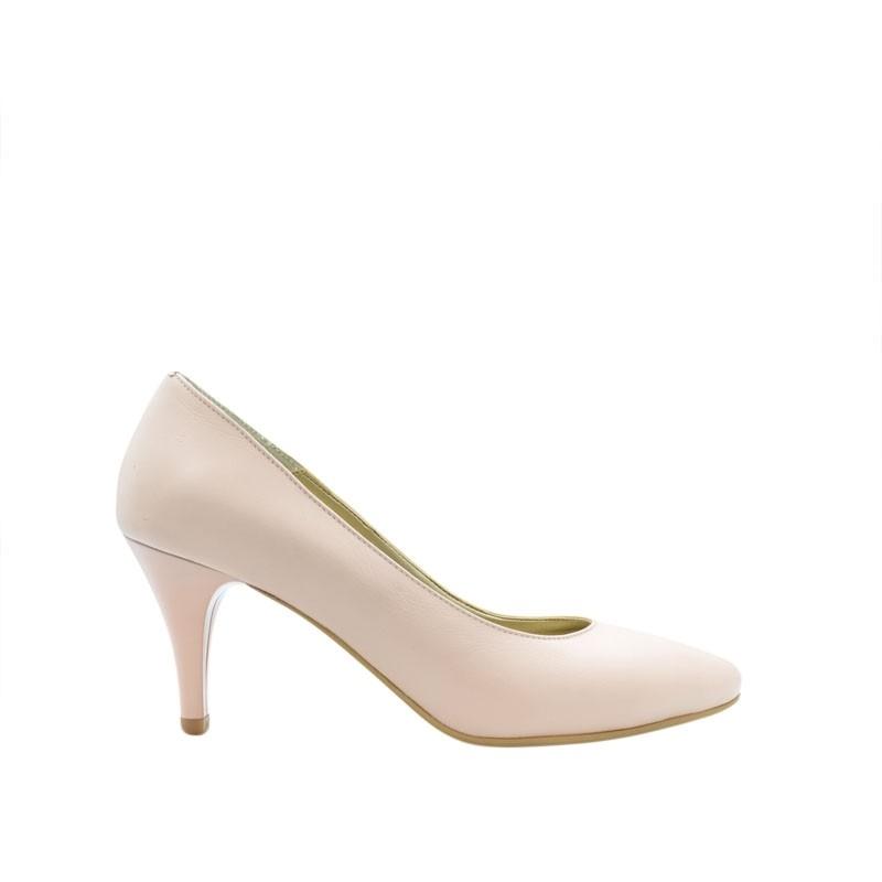 Pantofi dama pumps nude roz din piele naturala