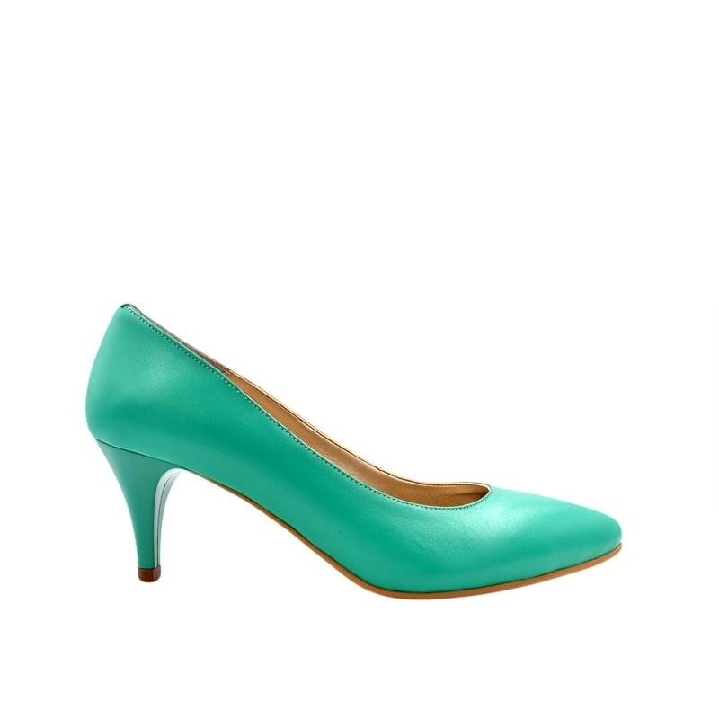 Pantofi dama pumps verde din piele naturala
