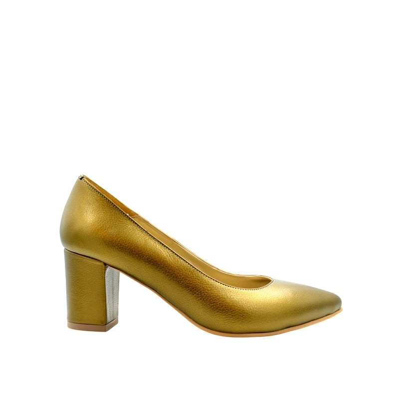 Pantofi dama pumps bronze cu toc gros din piele naturala