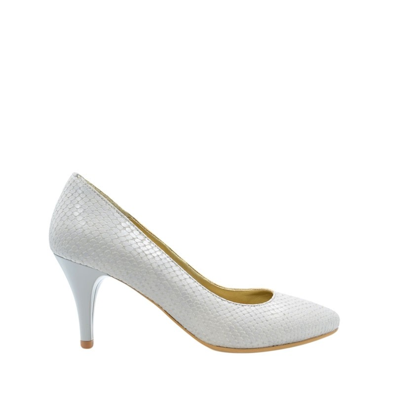 Pantofi dama pumps gri din piele naturala