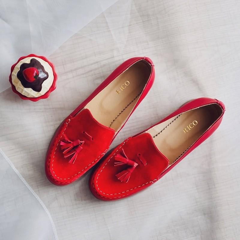 Scarpi dama rosii fara siret din piele naturala