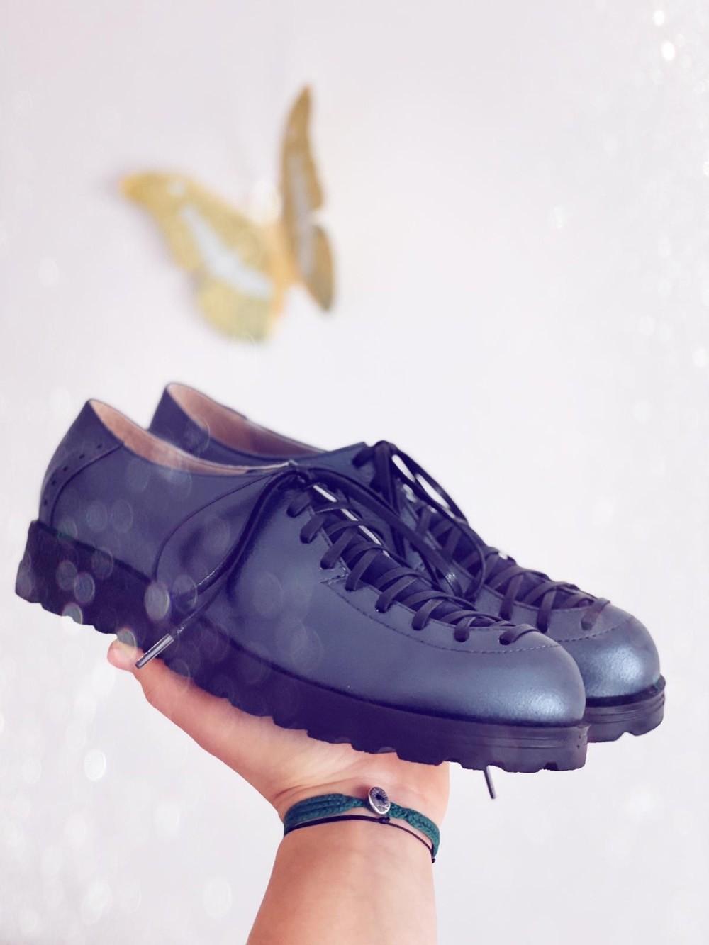 Pantofi dama cu siret piele naturala bleumarin