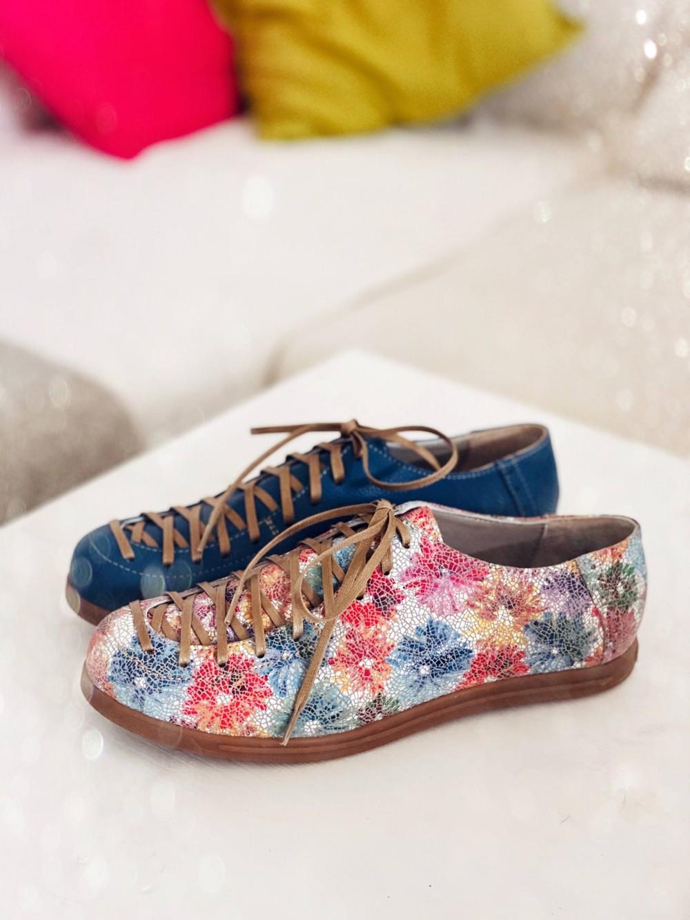 Pantofi dama cu siret piele naturala multicolor