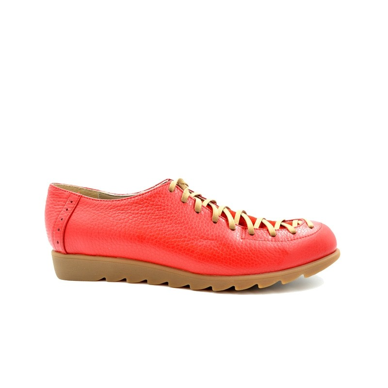 Pantofi dama cu siret piele naturala - Rosu