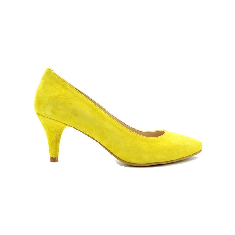 Pantofi dama stiletto cu toc mic din piele intoarsa - Galben