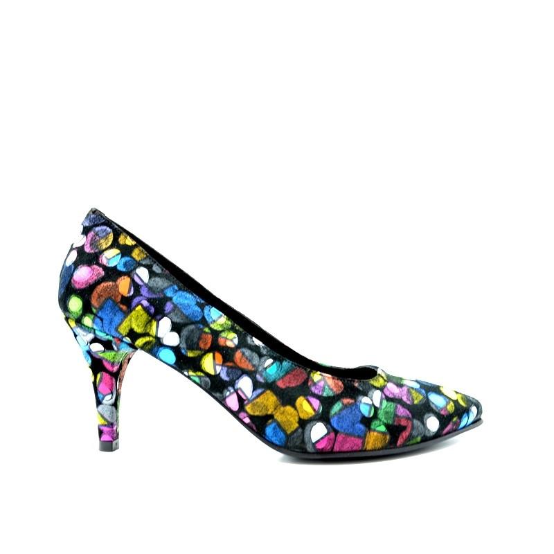 Pantofi dama pumps din piele naturala multicolora