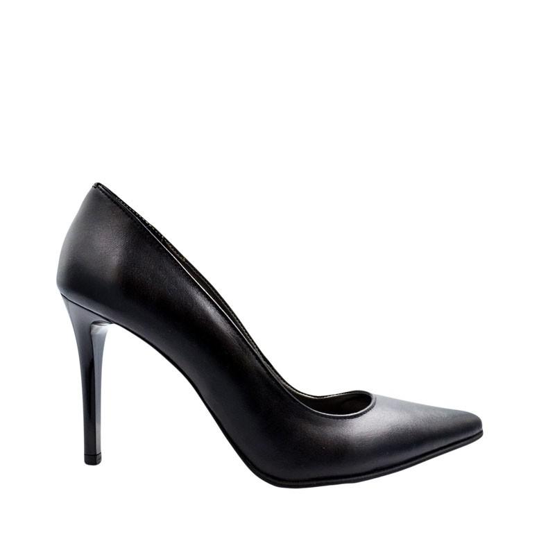 Pantofi dama stiletto negru piele naturala
