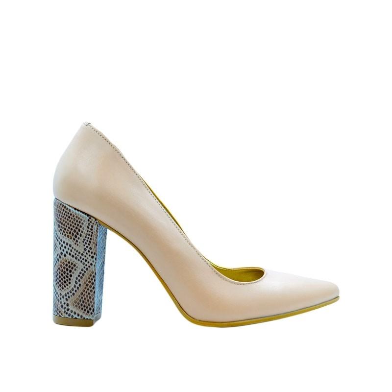 Pantofi dama stiletto toc gros nude