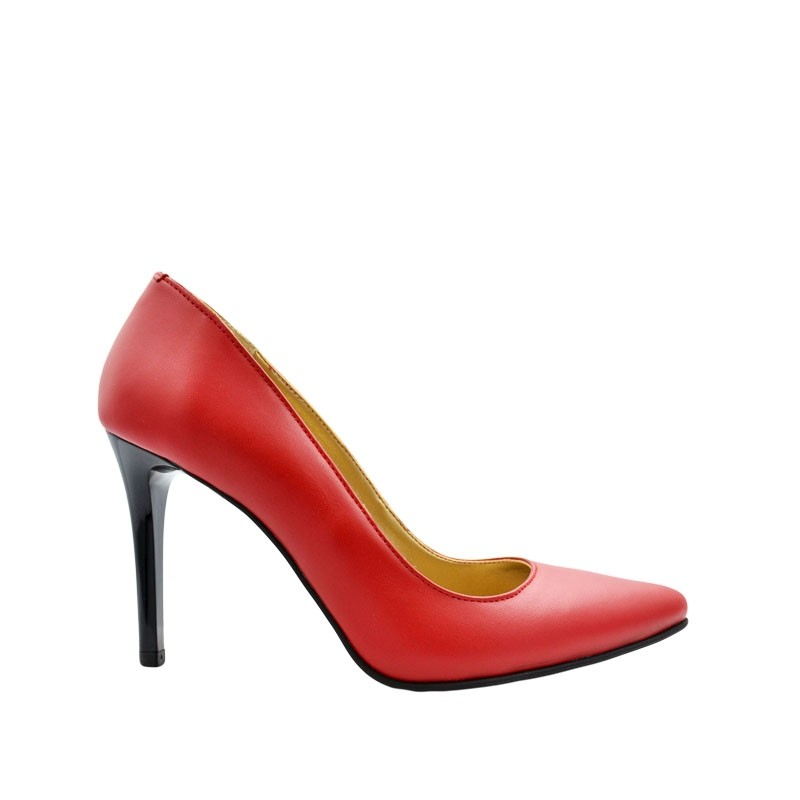 Pantofi dama stiletto rosii piele naturala