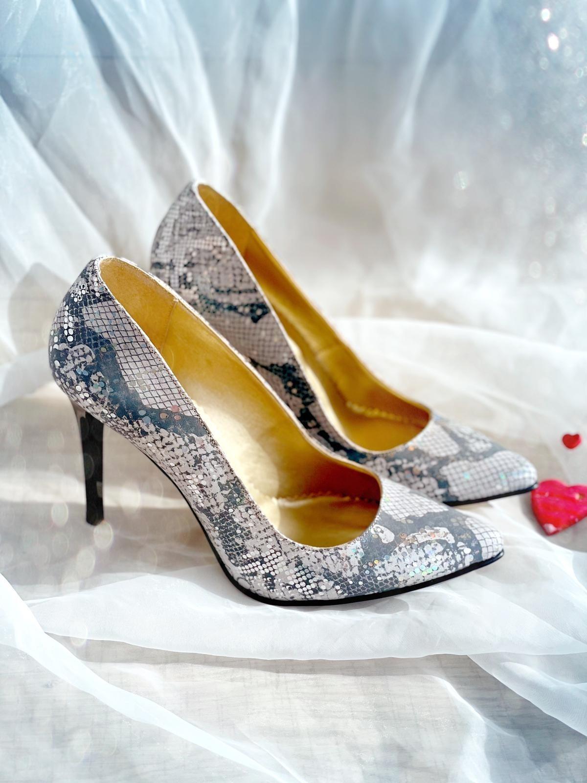 Pantofi dama stiletto piele naturala tip sarpe gri