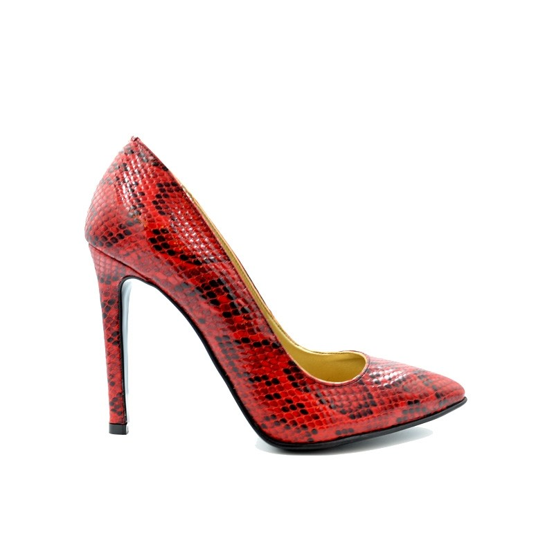 Pantofi dama stiletto piele naturala tip sarpe - Rosu
