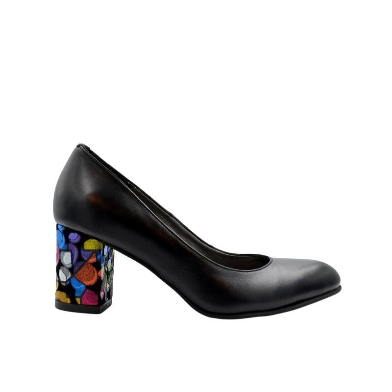 Pantofi de dama negri cu toc multicolor