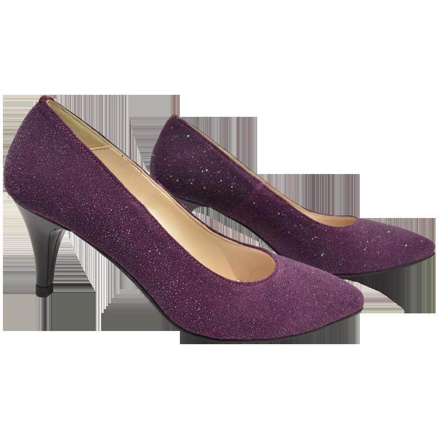 Pantofi dama ascutiti violet cu toc